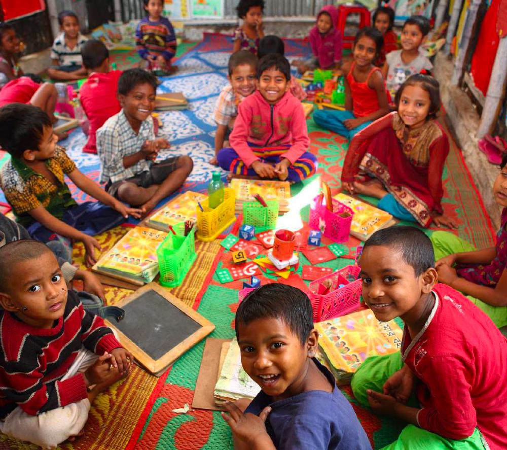 Écoliers dans une école en Inde.